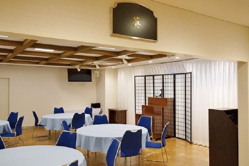 【家族葬お清め会場】<br /> 少人数の葬儀に最適な30席の会食場。平安祭典葛西会館には、様々な広さの会食場がございます。